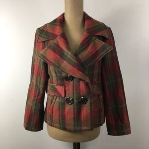 Static Wool Plaid Double-Breasted Coat/Jacket M